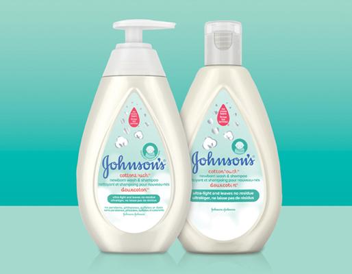 Two bottles of Johnson's newborn body wash and shampoo